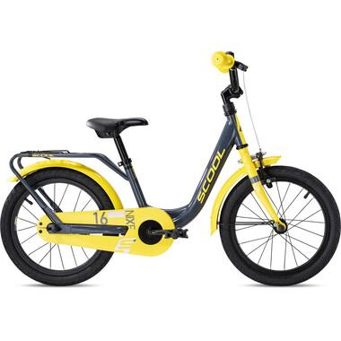"""Vélo Enfant S'COOL NIXE Acier 16"""" Gris/Jaune 2020"""